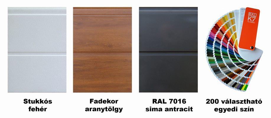 DITEC garázskapu széles bordás panelek és 200 választható egyedi szín