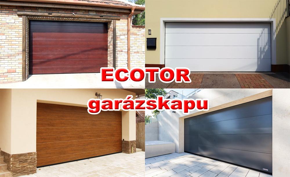 ECOTOR garázskapu - Biztonság, kényelem, esztétikus megjelenés, tökéletes hőszigetelés, hosszú élettartam, legnagyobb szín, forma és felület választék. Európai minőségű szekcionált garázskapu.